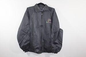 New-Vintage-80s-Mens-Large-Full-Zip-Salem-Cigarettes-Spell-Out-Rain-Jacket-Black