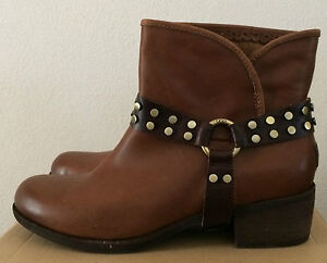 Womens-Size-10-UGG-Whiskey-Brown-Leather-Western-Cowboy-Ankle-Boots-1006683-WHI
