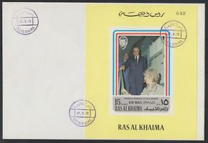 1972-Ras-al-Khaima-FDC-Visit-of-Pompidou-Cape-Kennedy-Space-M-S-yellow-brd727