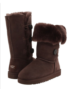 18577c90a00 Details about NIB UGG Australia Bailey Button Triplet CHOCOLATE BROWN Boots  1962 K Girls 13