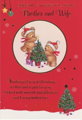 CUTE BROTHER AND WIFE CHRISTMAS CARD VARIOUS DESIGNS 1STP/&P GREETING CARD