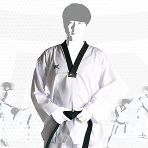 MTX Basic Taekwondo Suits TKD Uniform Black V Neck Dobok Pullover Top WTF Mooto