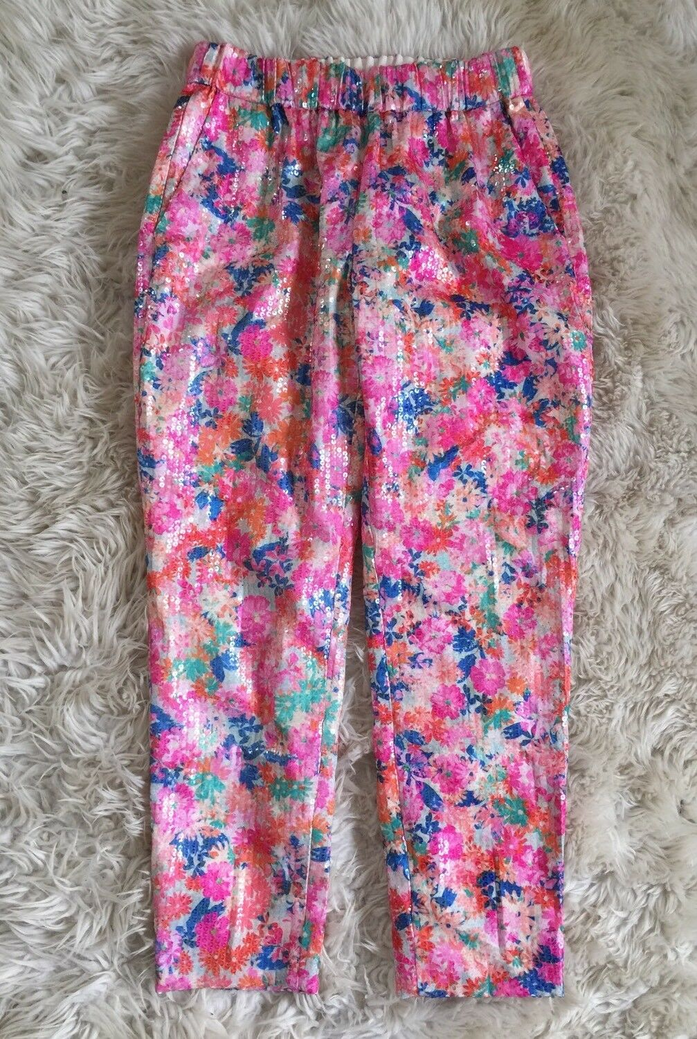 New Jcrew Brushstroke Marigold Floral Sequin Easy Pants Size 6 Pink bluee RARE