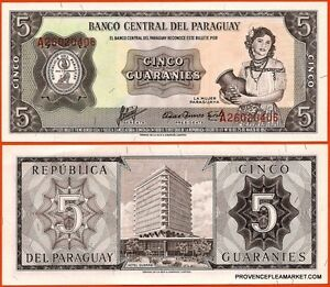 PARAGUAY-billet-neuf-de-5-GUARANIES-Pick195a-JEUNE-FEMME-POTERIE-HOTEL-GUARANI