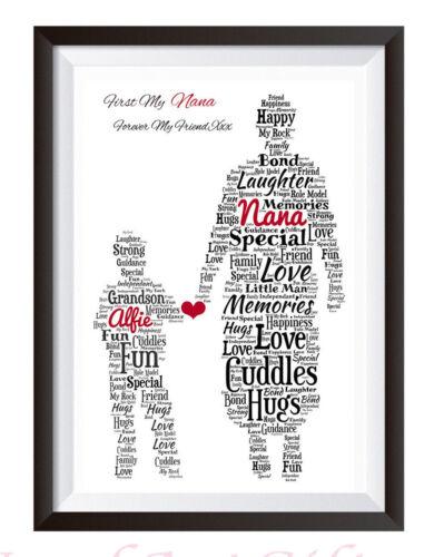 Personalised Word Art Nan Nana Gran Grandma GRANDSON Print Birthday Gift