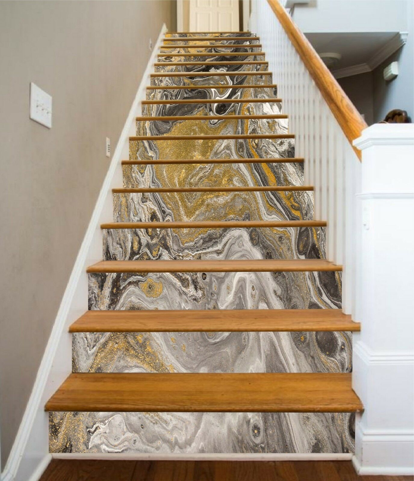 3D Abstract Shadin 72 Tile Marble Stair Risers Photo Mural Vinyl Decal Wallpaper