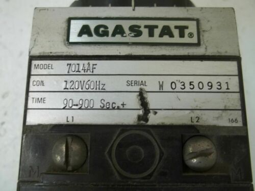 120V *USED* AGASTAT 7014AF TIMING RELAY 90-900SEC.
