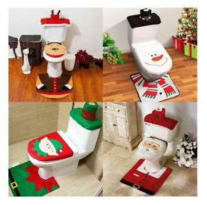 Image Is Loading Beautiful Christmas Toilet Seat Cover Set Decoration Snowman