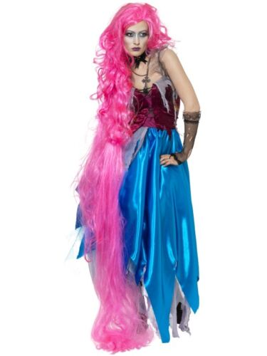 Womens Long Pink Rapunzel Wig Princess Costume Fairy Tale Hair Braided Adult NEW
