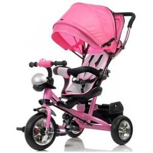 Triciclo Bambina Passeggino Maniglione a Spinta Sedile Girevole Cappotta Rosa