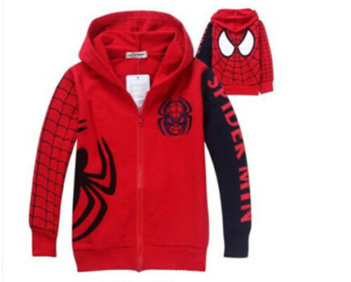 New Baby Toddler Boys spring winter zipper Hooded Outerwear Jacket Spider-man