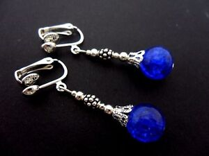 A-PAIR-OF-TIBETAN-SILVER-BLUE-CRACKLE-GLASS-BEAD-CLIP-ON-EARRINGS-NEW