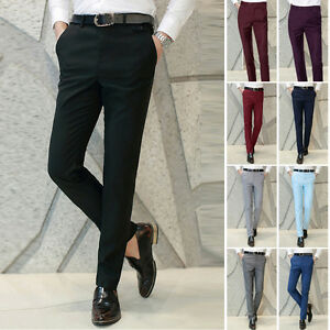 Hot-Sales-Men-039-s-Smooth-Formal-Business-Dress-Pants-Casual-Soft-Trousers-Slacks