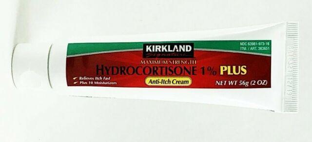 Kirkland 1 Plus Hydrocortisone Antii-itch Rash Relief Cream 2 Oz X 4 Tubes