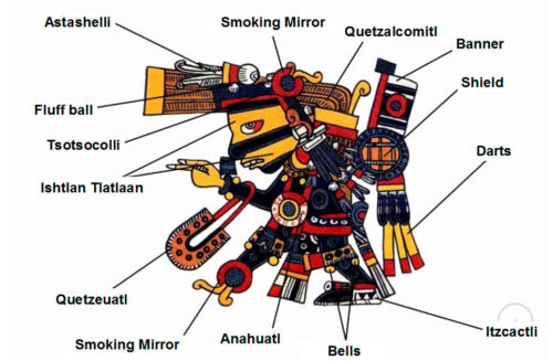 5 cm Mexican Obsidian Smoking Mirror Stone Disc Tezcatlipoca Aztec Maya Olmec