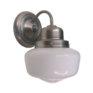 Brushed Nickel And White Schoolhouse Glass Wall Sconce