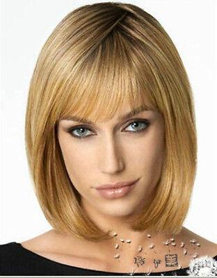 Stilvolle kurzen Braun Blond Haaren Damen Perücke Wig