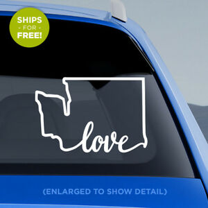 Washington-State-034-Love-034-on-bottom-Decal-WA-Love-Car-Vinyl-Sticker-add-heart