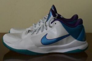 4be9da1d555e5 Nike Zoom Kobe V 5 Draft Day 386429-100 Hornets White Purple Orion ...