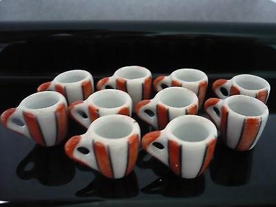 10 Orange Strip Coffee Mug Ceramic Hand Painted Dollhouse Miniatures Deco