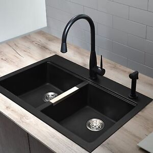 Details about Granite Composite Sink Kitchen Double Bowl Black Onyx Modern  Dual Mount New