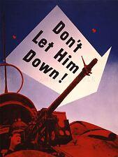 Guerra di propaganda Seconda Guerra Mondiale USA MACHINE GUN TORRETTA Arte Poster Stampa lv3766