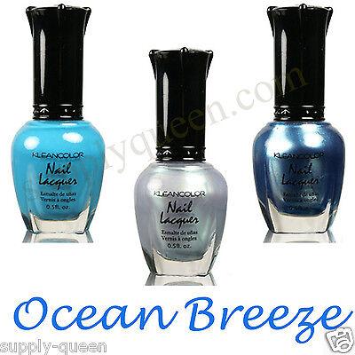 Kleancolor Ocean Breeze Collection Nail Polish Lot of 3 Colors Set Lacquer