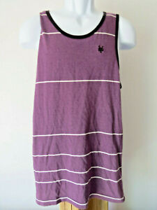 ZOO-YORK-Men-039-s-Purple-White-TANK-TOP-M-TEE-Sleeveless-Striped-Shirt-fits-like-S