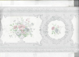 Image Is Loading WALLPAPER BORDER SATIN FINISH VICTORIAN FLORAL FLOWERS IN