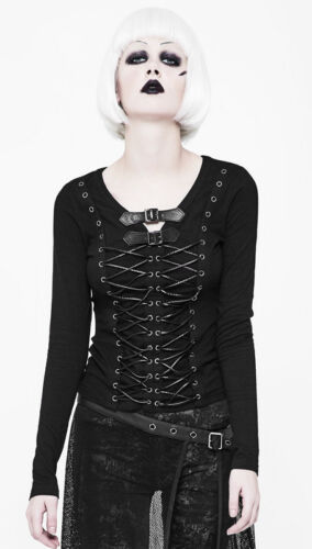 Rock Gothique Laçages Top T Rivet Cuir Punkrave Haut shirt Lolita Punk Sangles SgvSx