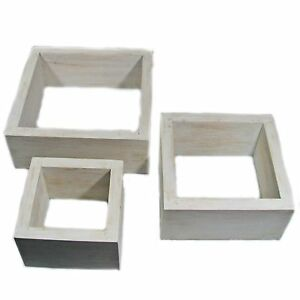 Image Is Loading Three Square White Knick Knack Shelves In Graduated