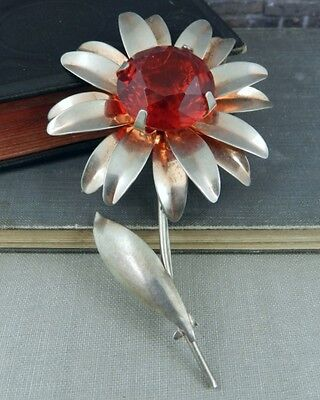 Large Sterling Silver Daisy Flower Pin / Brooch