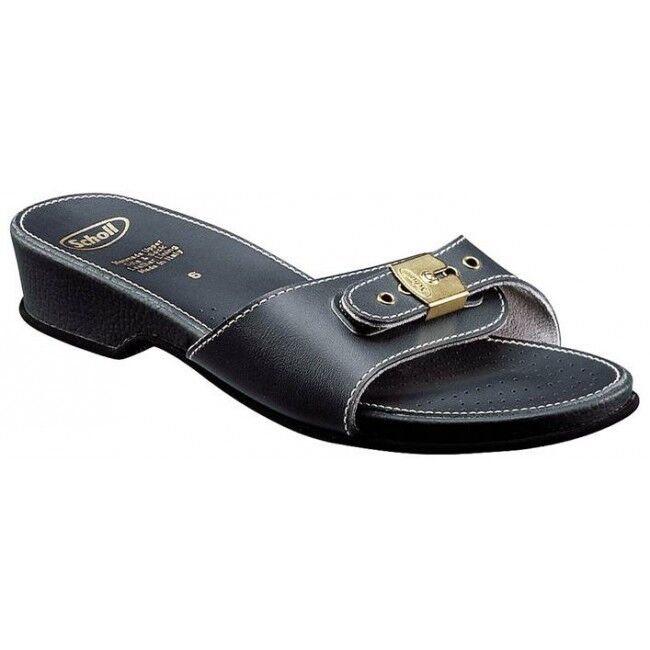 Scholl Leder Look Low Heel Sandaleen/Mules Navy
