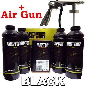 Upol Raptor Black 4x Liner Kit + Spray Gun Tough Coating Bedliner Paint U-Pol