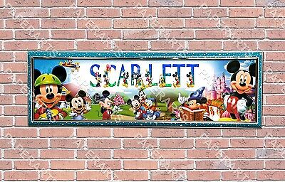 Personalized Mickey and Minnie Mouse Name Poster with Border Wall Decor Banner