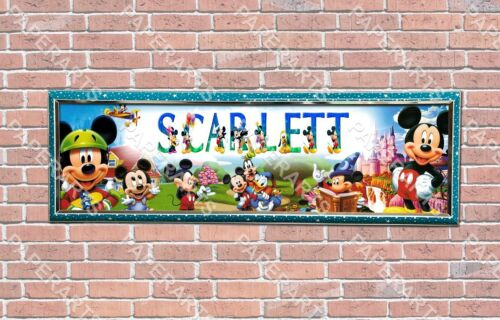 Personalized Customized Mickey Mouse #2 Name Banner Wall Decor Poster with Frame