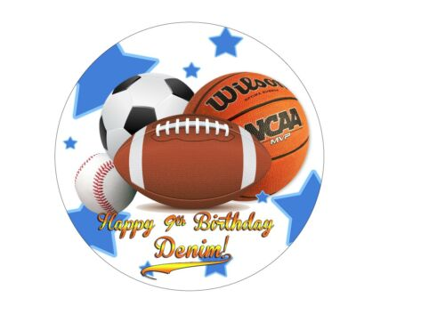 All Star Birthday Cake topper Edible paper sugar sheet Football soccer baseball