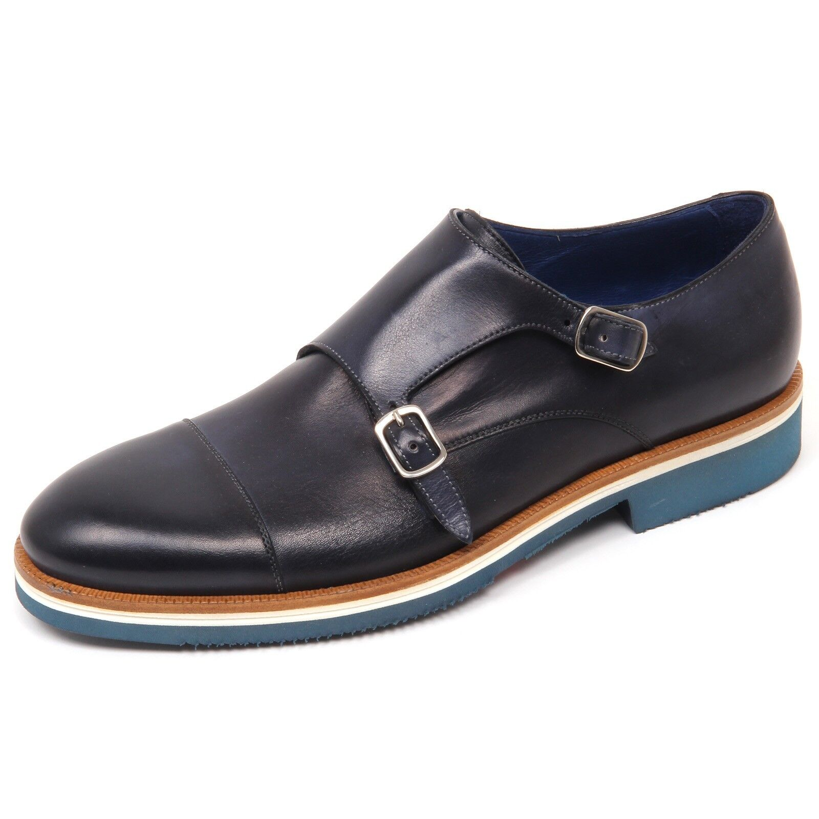 D0542 scarpa uomo CARACCIOLO 1971 VENICE scarpe doppia fibbia blu shoe man