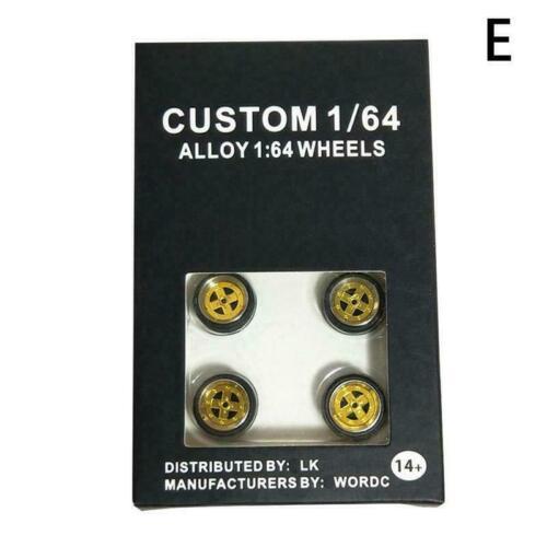 Matchbox 1//64 Scale Alloy Wheels Custom Hot Wheels Rubber Tires P8U6 Tomy