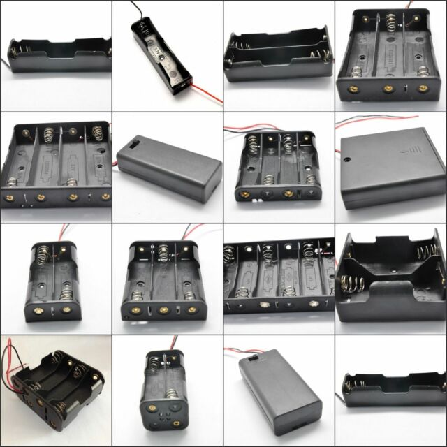 AA/AAA/18650 Battery Holder x1/2/3/4/5/6/8pcs Enclosed Box/Switch With Cable