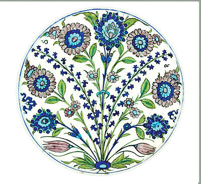 Museum Collection Floral Tin Enamel Plates 26 cm - Picnic Festival or Camping