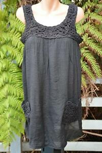 NEW-Just-Fashion-rrp-36-Size-S-12-14-Black-Top-Round-Neck-Pockets-Sleeveless