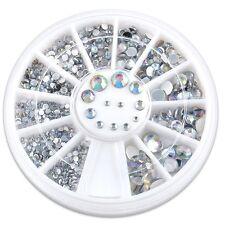 Nail Art Glitter Rhinestones 12 Grids Fingernail Tips Decoration Wheel Plate