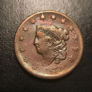 1833-Matron-Head-Large-Cent-AU-About-Uncirculated-Middle-Date-EAC-Coronet-1c