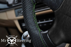 FOR-GMC-TERRAIN-10-17-PERFORATED-LEATHER-STEERING-WHEEL-COVER-GREEN-DOUBLE-STCH