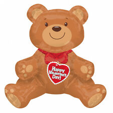 Large Happy Valentines Day Teddy Bear Balloon Air self fill Balloon FREE P&P