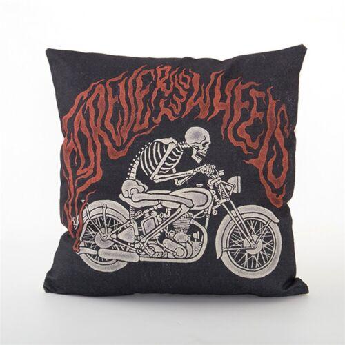 Motorcycle Printing Linen Decor Cushion Cover Seat Waist Cartoon Pillow Case