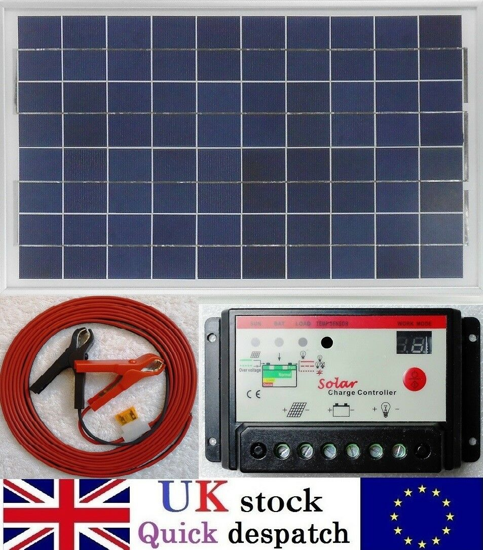 30w PV Solar Panel + 10A PWM Charger Controller +6m Cable Clips fuse 12v Battery