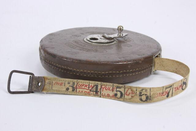 Bell System 100 Ft Linen Tape Measure Lufkin Rule Leather Casing Saginaw MI