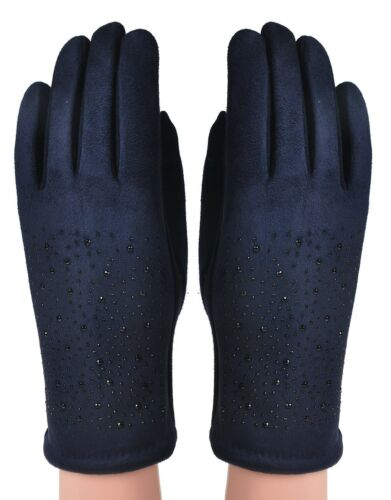 Fashion Women Ladies Winter Warm Thick Fleece Lined Thermal Diamante Design Glov